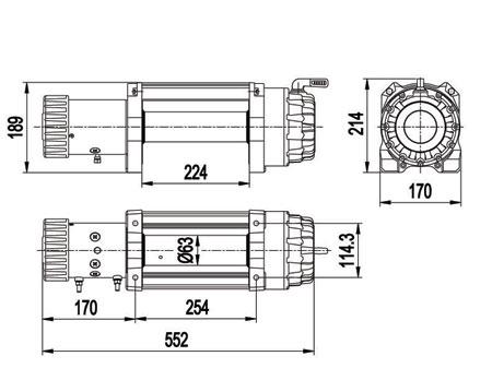 Схема размеров лебёдки Е9500, Е12500