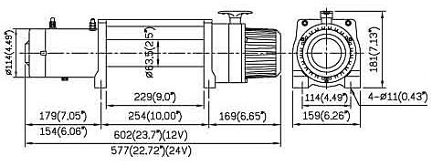 Схема размеров лебёдки Ком Ап 9000