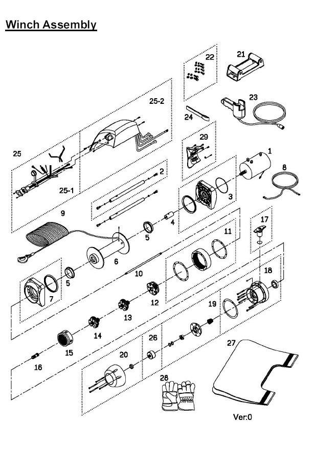 Схема устройства лебёдки Ком