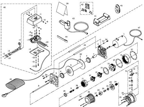 Схема устройства лебёдки Come Up dv 9000